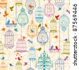 Vintage birds and birdcages collection. Pattern. Wallpaper. - stock photo