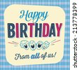 Vintage Birthday Card - Happy Birthday from all of us! - JPG Version - stock vector