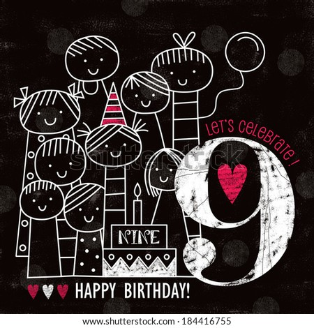Vintage Birthday card with Chalky People, jpeg - stock photo