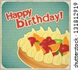 Vintage birthday card with Fruit Cake. JPEG version. - stock photo