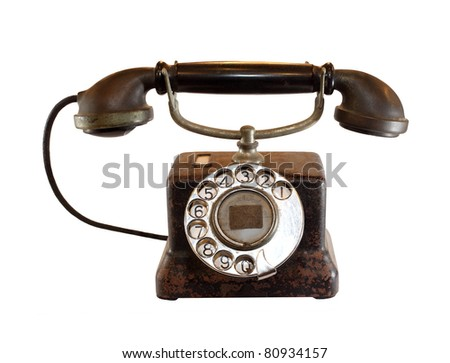 vintage black analog telephone isolated on white background with work paths