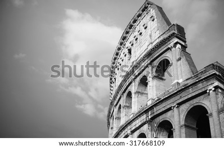 vintage black and white Colosseum in Rome, Italy