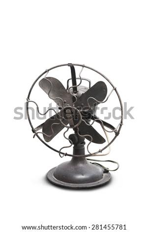 vintage black electric fan on white background - stock photo