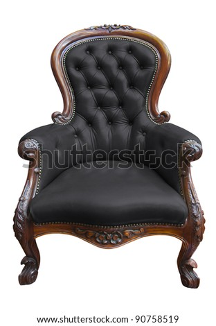 vintage black leather armchair on white with clipping path - stock photo
