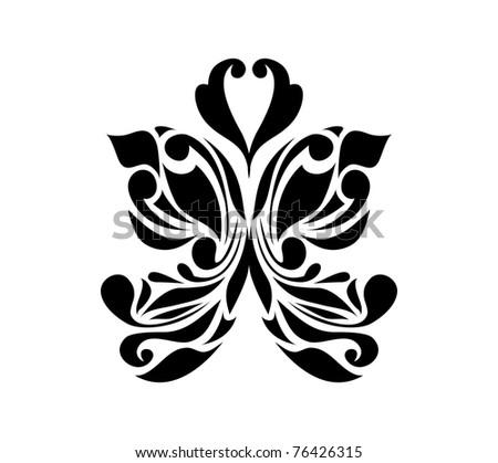 Vintage black ornament isolated on white background (raster version). Perfect for symbol, web, emblem, logo, logotype, signs, web. - stock photo
