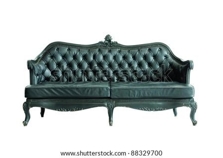 Vintage black sofa isolated - stock photo