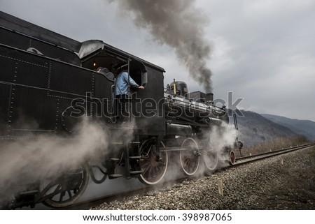 Vintage black steam train  - stock photo