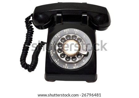 Vintage black telephone isolated on white background with clipping path.
