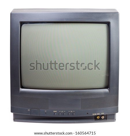 Vintage black Television set isolated on white background - stock photo