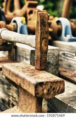 Vintage - Blacksmiths Tools - Hammer - Crafts Endangered - Symbol /  Tools - Hammer - stock photo