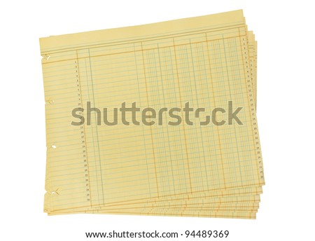 Vintage Blank Ledger Paper on White with Clipping Path - stock photo