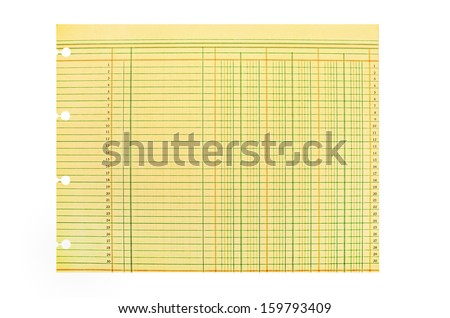 Vintage Blank Ledger Sheet with Clipping Path - stock photo