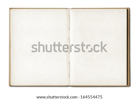 Vintage blank open notebook isolated on white
