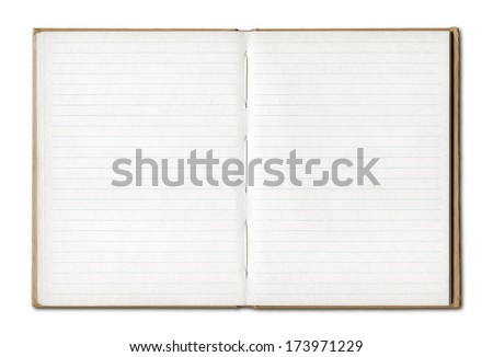 Vintage blank open notebook isolated on white with clipping path - stock photo