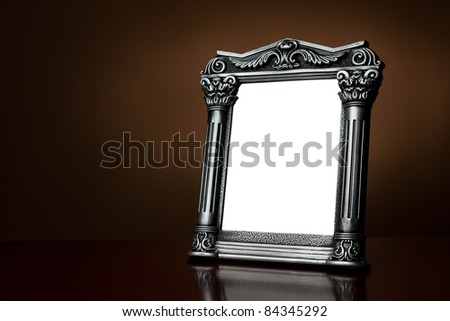 Vintage blank picture frame with clipping path - stock photo