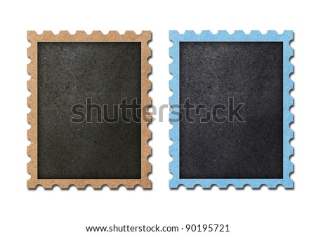 vintage blank postage stamps isolated. - stock photo