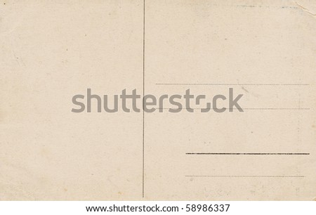 Vintage blank postcard back, isolated on white background