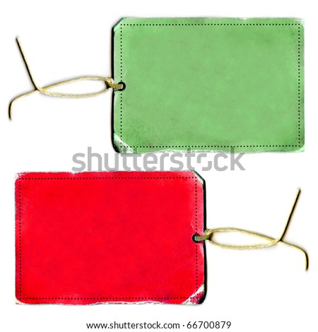 Vintage Blank Real Holiday Tag Or Labels Set On String - stock photo