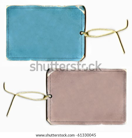 Vintage Blank Real Tag Or Labels Set On String - stock photo