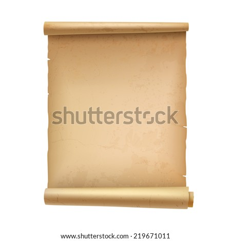 Vintage blank scroll document parchment isolated on white background  illustration - stock photo