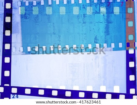 Vintage blue and white film strip frame background. - stock photo