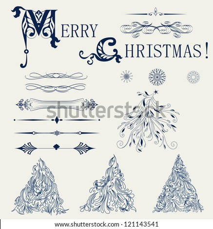 Vintage blue Christmas background for invitation, backdrop, card, new year brochure, banner, border, wallpaper, template, texture raster - stock photo