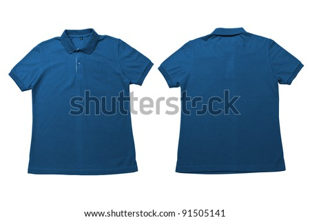 Vintage Blue  color Polo Shirt with white background Men Front and back Polo Shirt - stock photo
