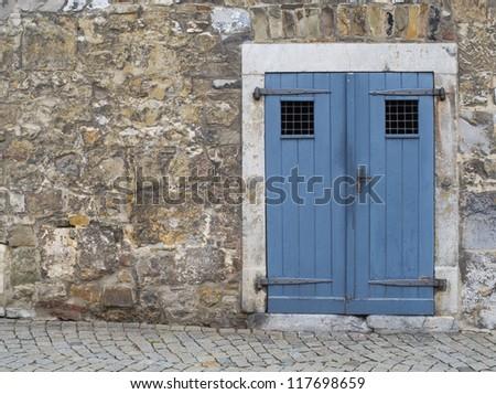 vintage blue door - stock photo