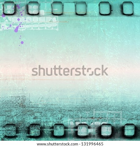Vintage blue film strip frame - stock photo