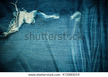 Vintage Blue Jeans Denim Fabric Ripped Textured Background Hipster Fashion