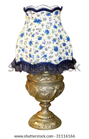 Vintage blue lamp isolated included clipping path - stock photo