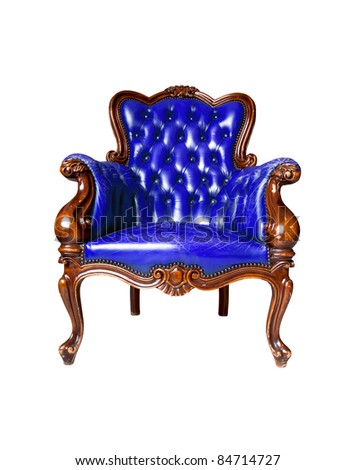 vintage blue leather armchair on white background