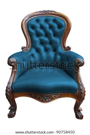 vintage blue leather armchair on white with clipping path