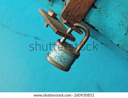 vintage blue lock - stock photo