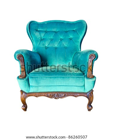 vintage blue luxury armchair isolated with clipping path - stock photo