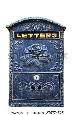"Vintage blue mailbox with ""letters"" written on it. Decorated with rose pattern. Isolated on a white background. Classic style. - stock photo"