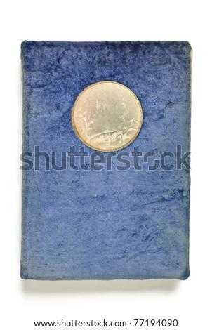 Vintage blue photo album isolated on white - stock photo