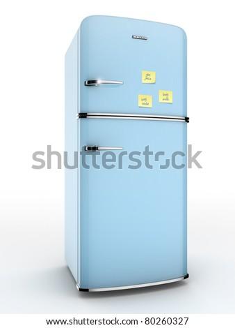 vintage blue refrigerator - stock photo