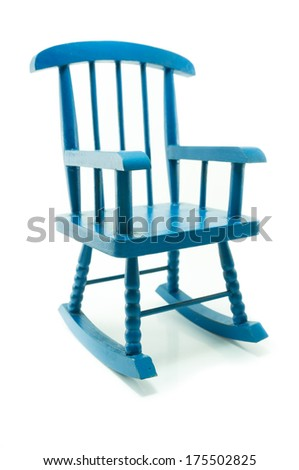 vintage blue rocking chair in white background