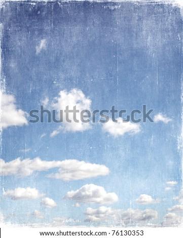 vintage blue sky background - stock photo