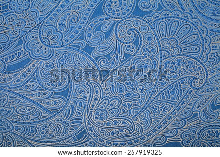 Vintage blue wallpaper with paisley pattern - stock photo