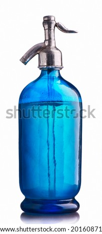 Vintage blue water siphon - stock photo