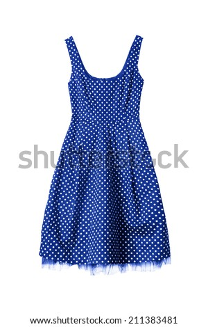 Vintage blue with white dots dress isolated over white - stock photo