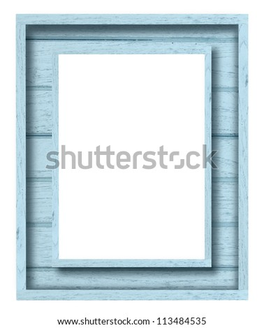vintage blue wood picture frame on white background - stock photo