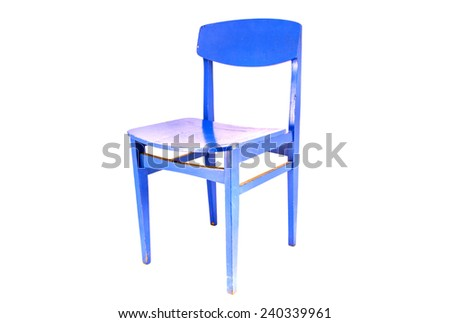 vintage blue wooden chair furniture isolated on white background