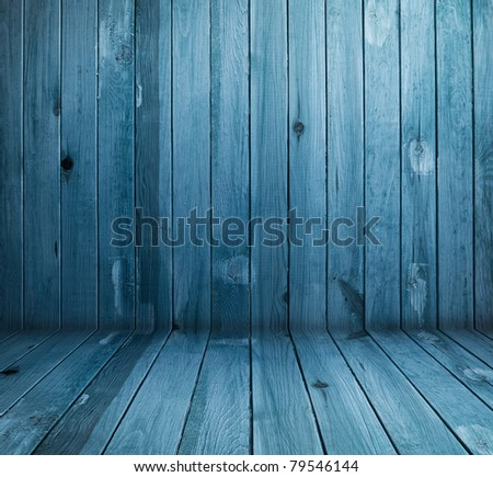 vintage blue wooden planks interior - stock photo
