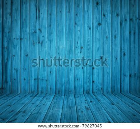 vintage blue wooden planks interior - stock photo