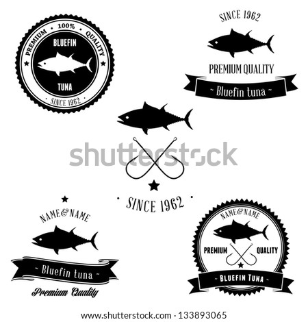Vintage Bluefin Tuna Badge set - stock photo