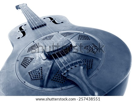 vintage blues guitar on white, blue image - stock photo