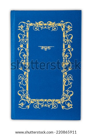 Vintage book cover blue isolated on white - stock photo